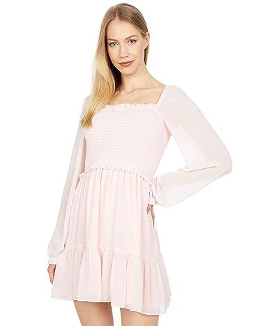 1.STATE Long Sleeve Smocked Top Ruffle Hem Dress (Pink Taffeta) Women
