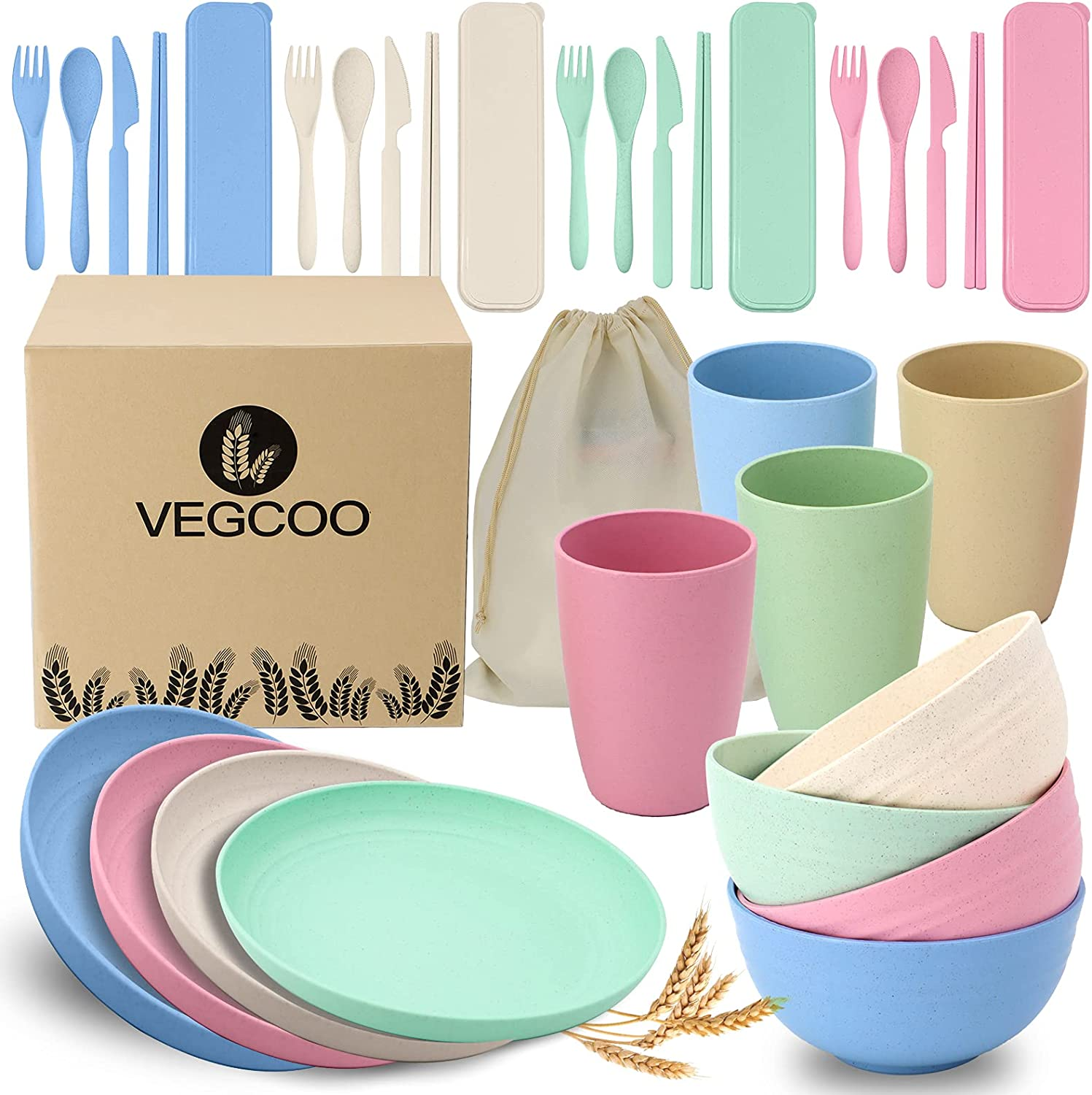 VEGCOO Wheat Straw Dinnerware Sets Lightweight 4 of and 55% OFF 32pcs security