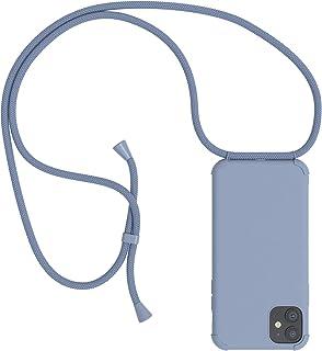 EAZY CASE Handykette kompatibel mit Apple iPhone 11 Handyhülle mit Umhängeband, Handykordel mit Schutzhülle, Silikonhülle, Hülle mit Band, Stylische Kette für Smartphone, Full Color Eisblau, Blau
