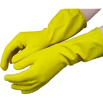 Clean Guantes para el hogar de Caucho Natural Interior Flocado Talla Talla L. Amarillo