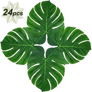 "Soyee 24pcs Tropical Palm Leaves 14"" Big Monstera Leaf Artificial Plants Jungle Theme Party Supplies Hawaiian Luau Party Decoration"