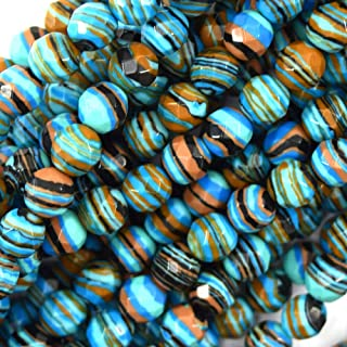 buyallstore Faceted Blue Rainbow Calsilica Round Beads 15