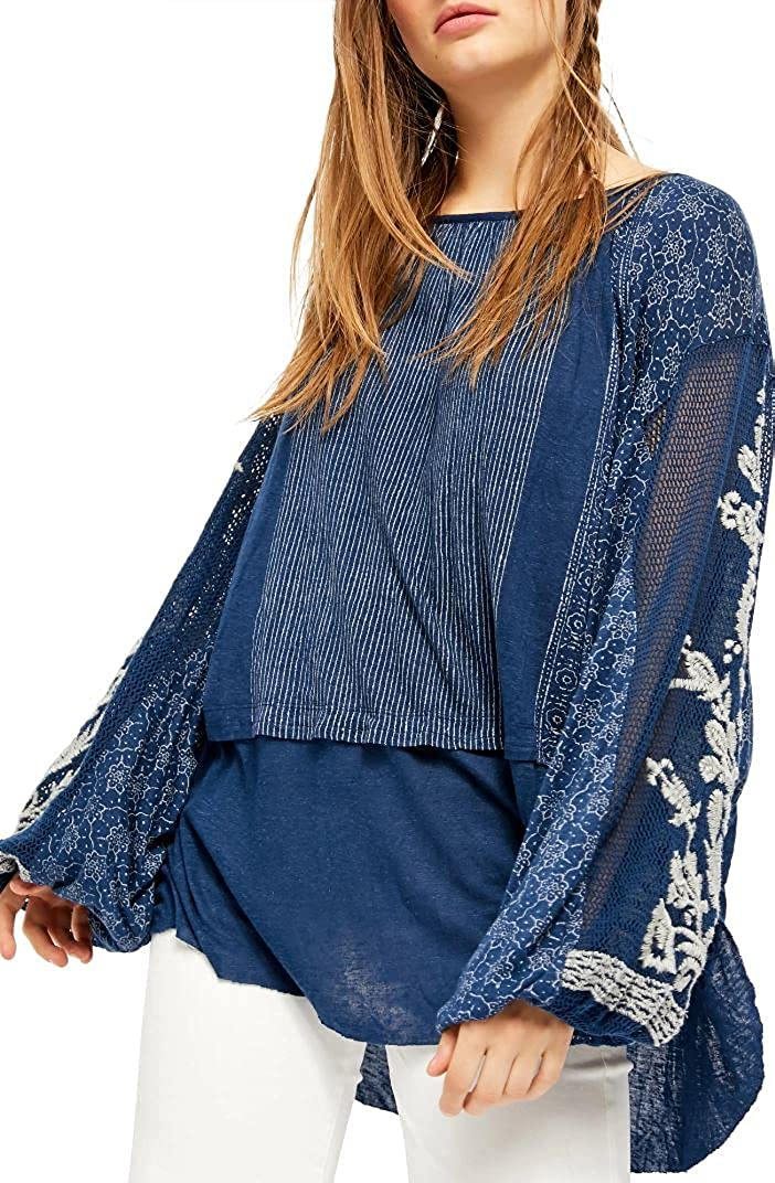 Free People Womens Dream Max 84% OFF Linen Blend Top Gorgeous Tunic Embroidered