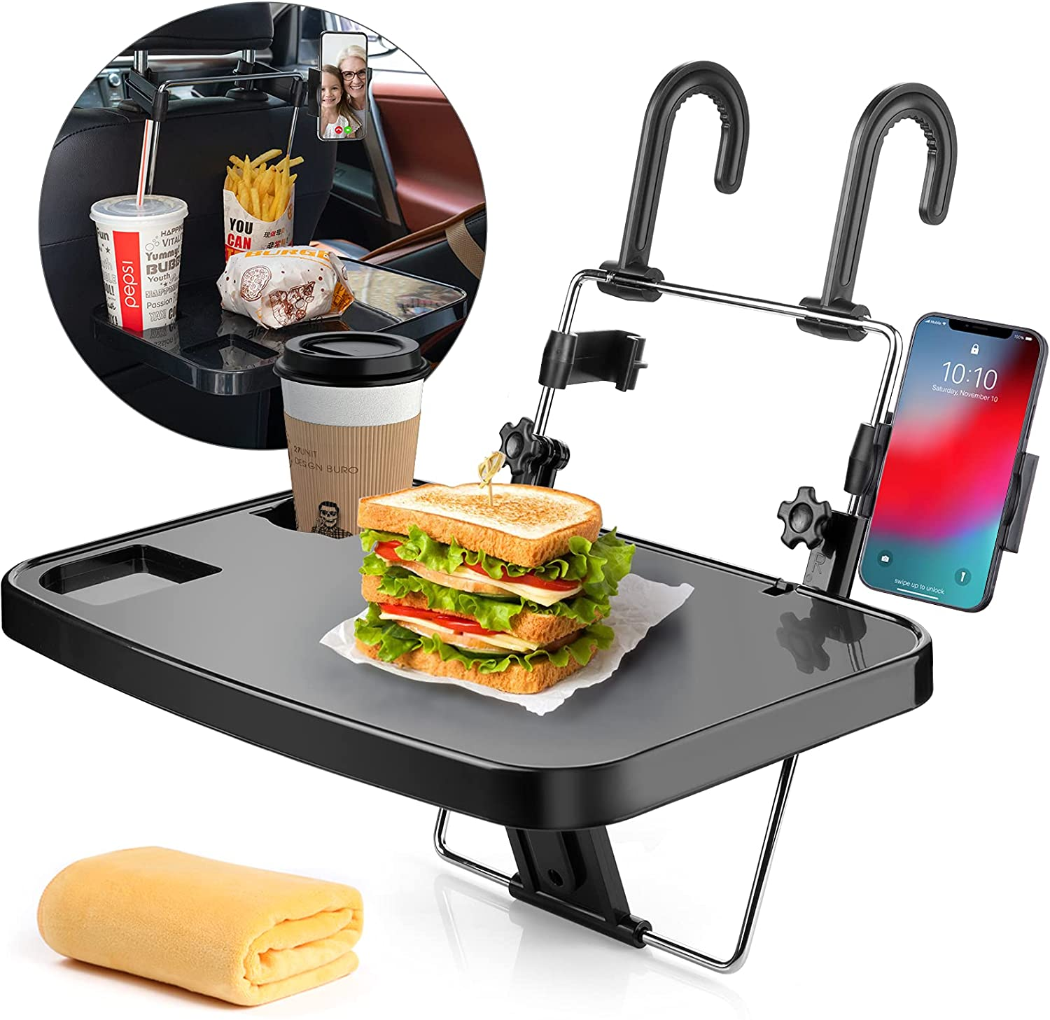 AutoChoice Foldable Car Seat Back Portable Tray with Phone Mount for Food Dining Drink and Laptop, Hanging Car Steering Wheel Tray(Upgrade)
