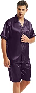Mens Silk Satin Pajamas Set Sleepwear Loungewear S~4XL Plus_Gifts