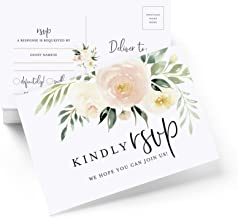 Bliss Collections RSVP Postcards for Wedding, Blush Floral Response Cards, Reply Cards Perfect for Bridal Shower, Rehearsal Dinner, Engagement Party, Baby Shower or any Special Occasion, 50 Pack 4x6