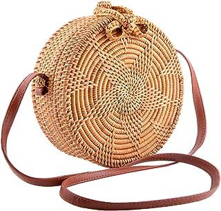 Handmade Round Ata Rattan Bag - Boho Shoulder Straw Bag - Crossbody Purse Women