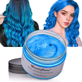 Wash Out Hair Dye Wax Hailicare Temporary Hair Color 4.23 Oz Natural Hairstyle Color Wax for Men And Women Festivals Parties Clubbing Cosplay Halloween (Blue)