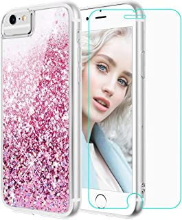 Maxdara Case for iPhone 6S iPhone 6 Glitter Case with Screen Protector Liquid Floating Bling Sparkle Luxury Shockproof Bumper Pretty Girls Children Case for iPhone 6 6s 7 8 4.7 inches (Rosegold)