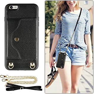 iPhone 6 Wallet Case, iPhone 6S Case with Credit Card Holder Slot, LAMEEKU Women Men Magnetic Protective Leather Purse Phone Case with Crossbody Chain Strap Wrist Strap for iPhone 6/6s 4.7