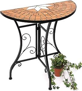 DanDiBo Tavolo-consolle Merano Tavolo a parete 120041 Tavolinetto in metallo e mosaico 70cm Consolle Tavolo