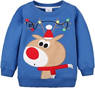 Hotmiss Baby Boys Girls Winter Warm Pullover Christmas Reindeer Crewneck Sweatshirt
