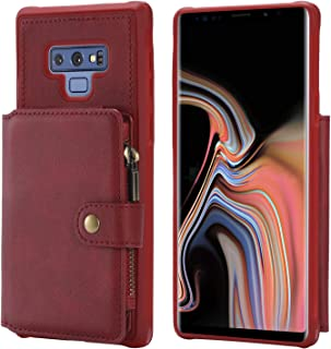 Samsung Galaxy Note 9 Case,Zipper Leather Card Cash Slot Large Capacity Protective Cover Durable Shell Kickstand Men Women Red