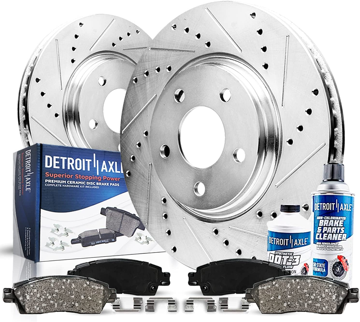 New product! New type Detroit Axle - Front depot Drilled and Rep Slotted + Rotors Pads Brake