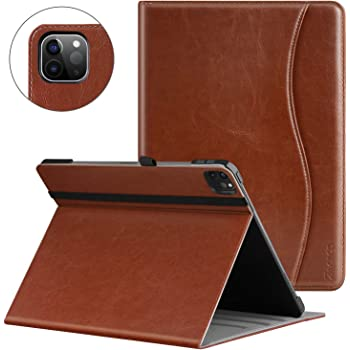 Ztotop Case for iPad Pro 12.9 2020 4th Generation, Premium PU Leather Case, Multiple Viewing Angles with Auto Sleep/Wake, Support iPad Pencil Charging for iPad Pro 12.9 Inch 4th Gen 2020 - Brown