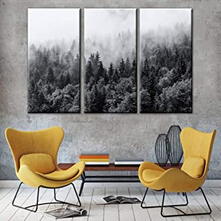TUMOVO Misty Forests of Evergreen coniferous Trees in an Ethereal Pictures Modern Large Nature Canvas Wall Art Contemporar...