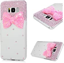 Mavis's Diary Compatible Samsung Galaxy S8 Plus Case, 3D Handmade Bling Colorful Diamonds Pink Resinous Bow with Shiny Sparkle Rhinestone Gems Crystal Clear Full Body Protection Hard PC Case Cover