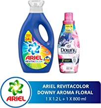 Ariel + Downy Ariel Revitacolor Detergente Líquido 1.2l + Downy Floral Suavizante De Telas 800 Ml, color, 1 count, pack of/paquete de