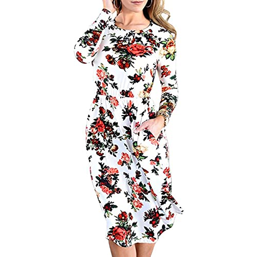 5a5ce359185 EMVANV Women s Casual Swing Pleated Long Sleeve Floral Tshirt Dress with  Pocket