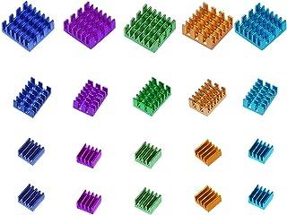 Smalloo 5 Colours Aluminum Heatsinks Kit with Thermal Conductive Adhesive Tape for Raspberry Pi/CPU/GPU VGA/RAM/VRAM/VRM/I...