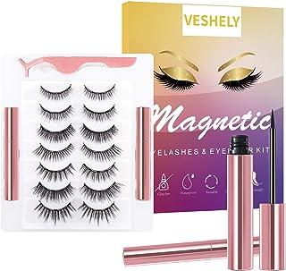 VESHELY Magnetic Eyelashes with Eyeliner Kit,3D 7 Pairs Natural Look False Lashes Set Short and Long, Reusable Waterproof ...
