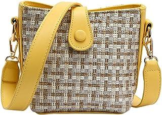 Bucket bag fashion Wide shoulder strap One shoulder Crossbody bag Yellow