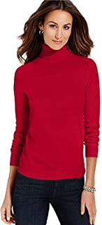 Women's Turtleneck Sweater Solid-Red Long-Sleeve Size XL