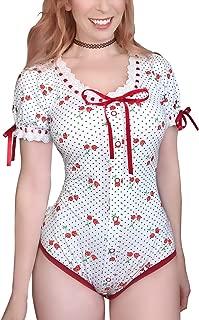 LittleForBig Button Crotch Adult Baby Onesie Bodysuit – Lolita Glitter Cherry Onesie