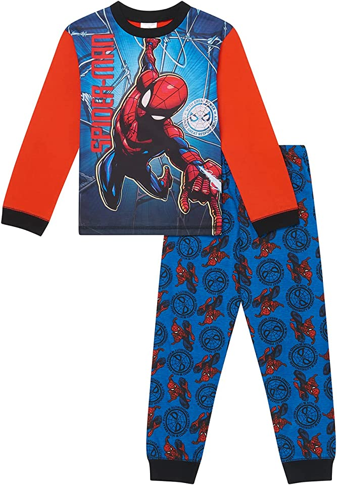Boys Spiderman Pyjamas Pjs Ages 2 to 12 Years Old, Official Merchandise