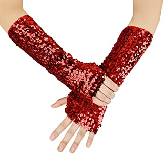 JISEN Shiny Sequins Oversleeves Arm Warmer Stretchy Fingerless Gloves
