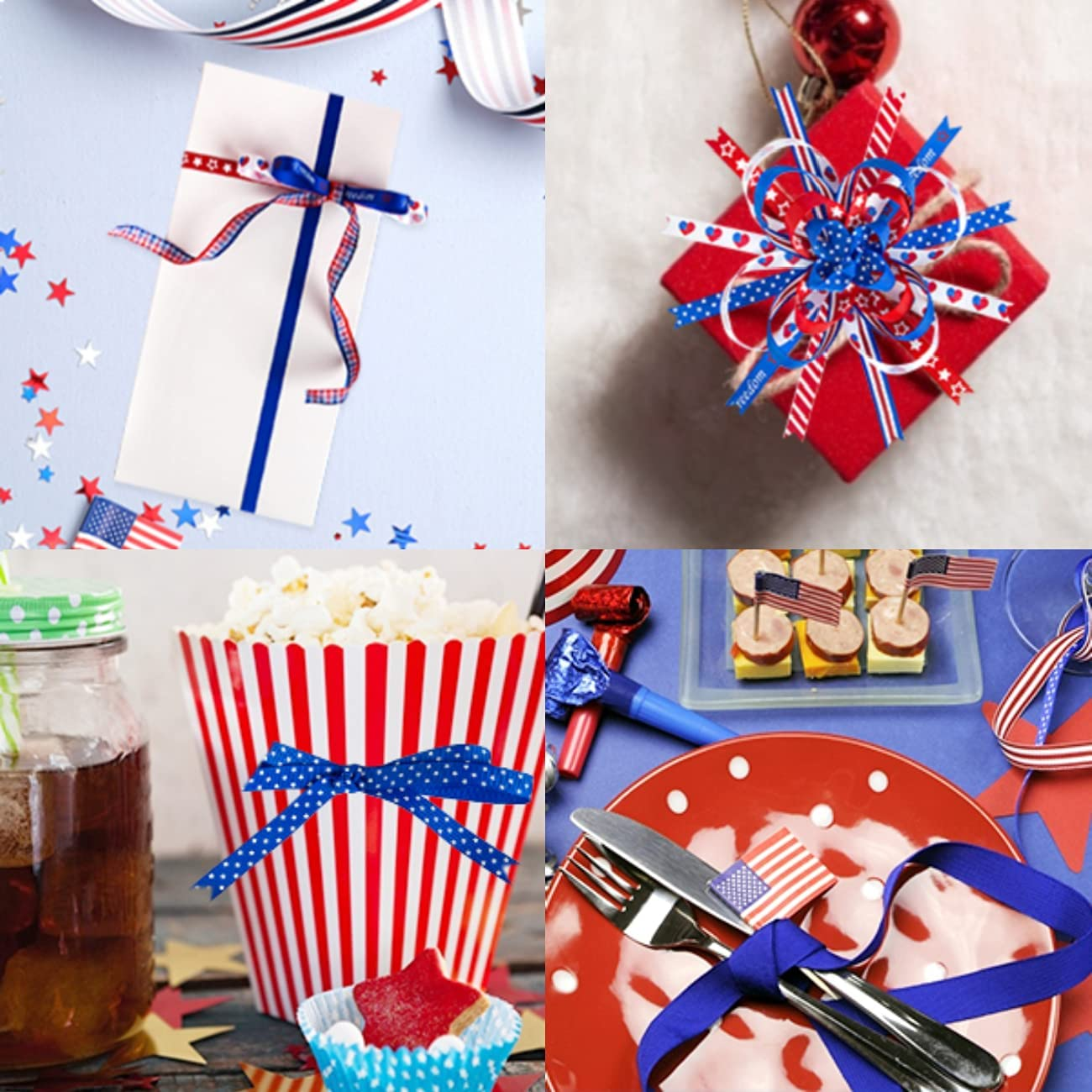 Patriotic Ribbon for Gift Wrapping 3/8 4th of July Ribbon 10rolls ...