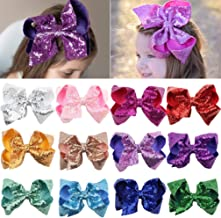 Sequin Bow Baby Girls 6in Large Glitter Party Favors 12pcs Sparkling Big Hair Bows Alligator Hair Clips for Girls Baby Toddlers Children