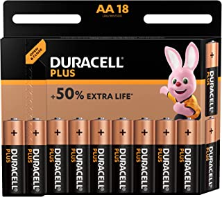 Duracell Plus AA Alkaline Batteries [Pack of 18], 1.5 V LR06 MX1500