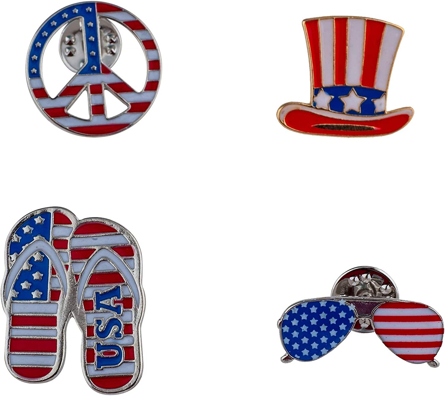 Lux Accessories Red Blue Peace Sunglasses Hat Slippers USA Set of 4 American Flag Themed Brooch Pin