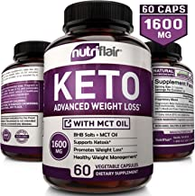 NutriFlair Keto Diet Pills 1600mg - Advanced Ketosis Supplement - Natural BHB Salts (beta hydroxybutyrate) with MCT Oil Powder, Utilize Fat for Energy, Boost Focus - Best Keto Pills for Women and Men