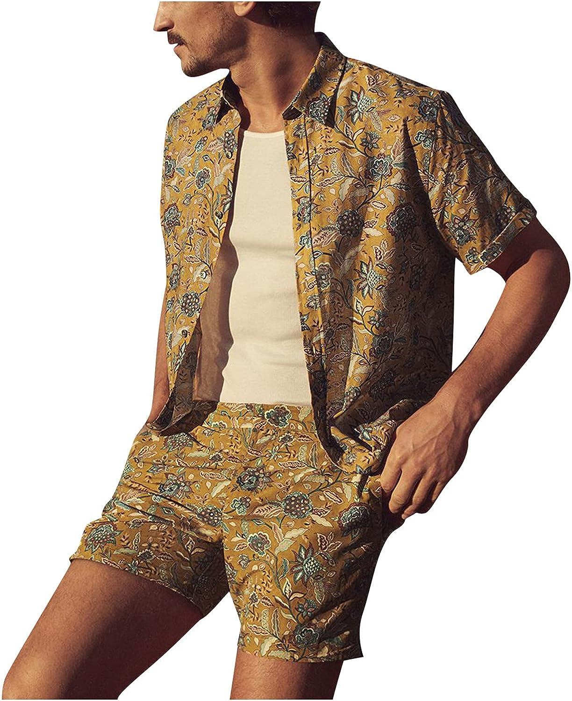 Men's Summer Tracksuit Short Sleeve Button Down Beach Print Outfits Set 2 Pieces