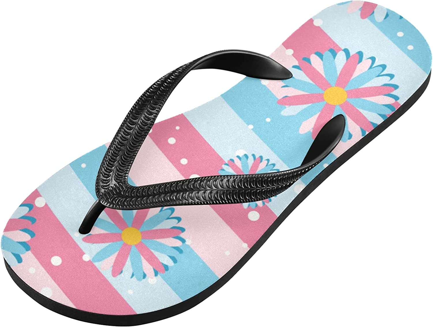 Linqin Flip Flops Slippers for Women/Men Outdoor Summer Beach Sandals Shower Shoes with Blue And Pink Flowers Element