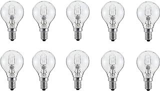 Lot de 10 ampoules halogènes sphériques E14 à intensité variable 18 W = 21 W/25 W G45 Blanc chaud