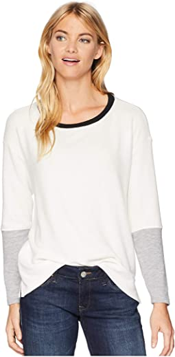 Madison Brushed Boat Neck Color Block Pullover
