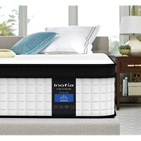 Inofia Full Mattress,10 Inch Cool Memory Foam Innerspring Hybrid Mattress in a Box, Breathable Comfortable Mattress, Supportive & Pressure Relief, Full Size
