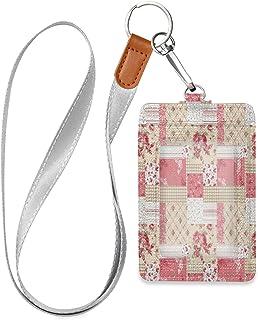 HMZXZ Porte-badge d'identification vertical en cuir synthétique avec cordon détachable Motif floral géométrique Rose