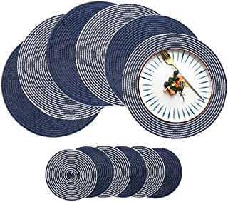 HiiARug Round Placemats and Coasters Set of 6, 4 Colors Cotton Round Table Mats with Coasters for Kitchen Dining Table