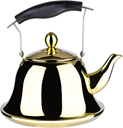 Onlycooker Whistling Tea Kettle Stainless Steel Stovetop Teakettle Sturdy Teapot for Tea Coffee Fast Boiling with Infuser Color Gold Mirror Finish 2 Liter / 2.1 Quart