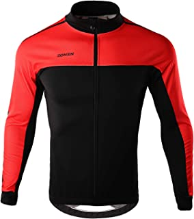DONEN Winter Men's Windproof Cycling Jacket Thermal Bicycle Jersey with Reflective Pockets(Black Red XXL)