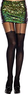 MUSIC LEGS Women's Thigh Hi and Suspender Look Spandex Sheer Pantyhose