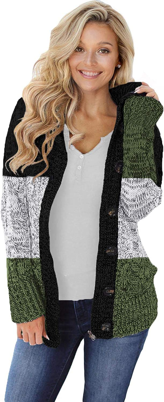 Women's Knit Cardigans Button Down Hoodies Open Front Sweater Loose Outwear Coat Color Block Jackets Long Sleeve Tops