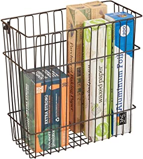mDesign Metal Wire Wall Mount Kitchen Storage Organizer Basket/Trash Can for Cabinet and Pantry Doors - Holds Bags, Tin Foil, Wax Paper, Saran Wrap - Solid Steel - Bronze