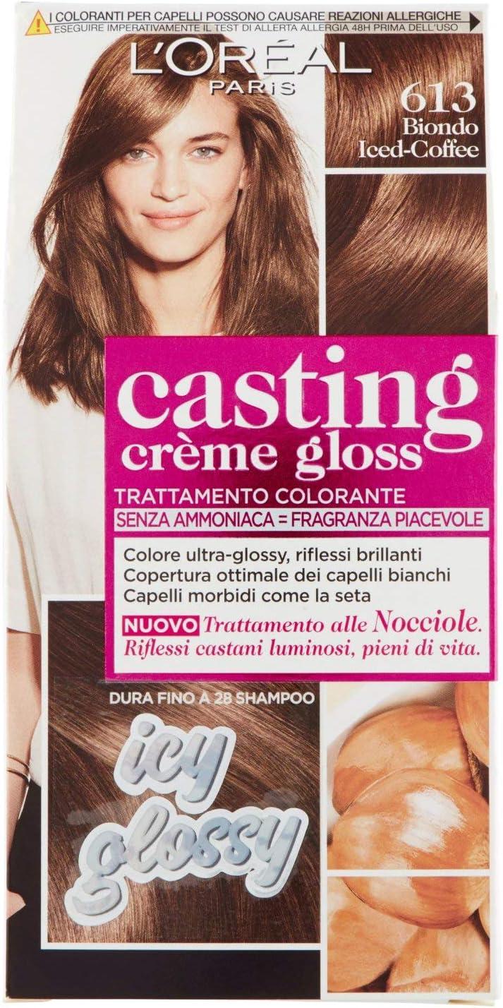 LOréal Paris Tinte para el cabello Casting Creme Gloss, sin amoniaco, para una fragancia agradable, 613 Rubio Iced-Coffee (paquete de 1)