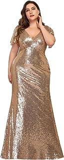Sirena Lentejuela Vestido de Noche Manga Corta Talla Grande Largo para Mujer 07988
