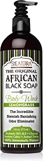 Shea Terra Organics African Black Soap Body Wash with Lemongrass Essential Oil | Natural Skin Care for Acne, Eczema, Dry S...